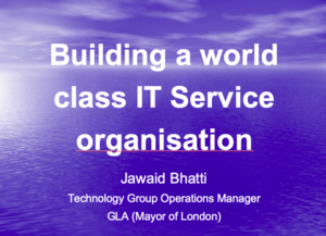 Building a world class IT Service organisation